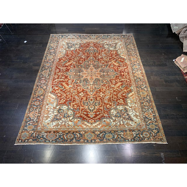 1920s Vintage Persian Heriz Area Rug - 9′5″ × 12′4″ For Sale - Image 13 of 13