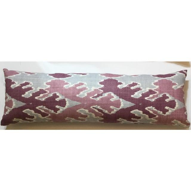 Purple & Gray Linen Ikat Pillow - Image 7 of 7