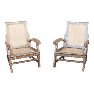 Lovely 19th Century Bone Inlay Arm Chairs For Sale