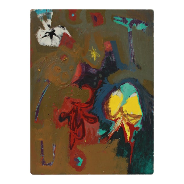 Bold Abstract Painting 1950s Acrylic For Sale
