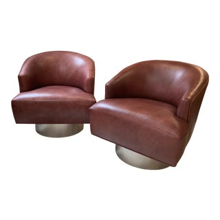 Milo Baughman Leather Swivel Chairs- a Pair For Sale