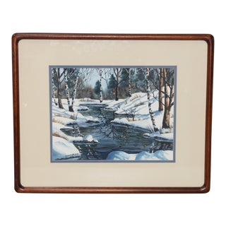 "Diane Phalen ""Pennsylvania Winter Landscape"" Original Watercolor C.1987"