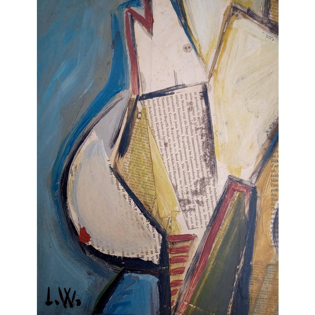 Mid-Century Modern Mid 20th Century Portrait of Cubist Style Abstract Female Mixed-Media Collage, Framed For Sale - Image 3 of 11