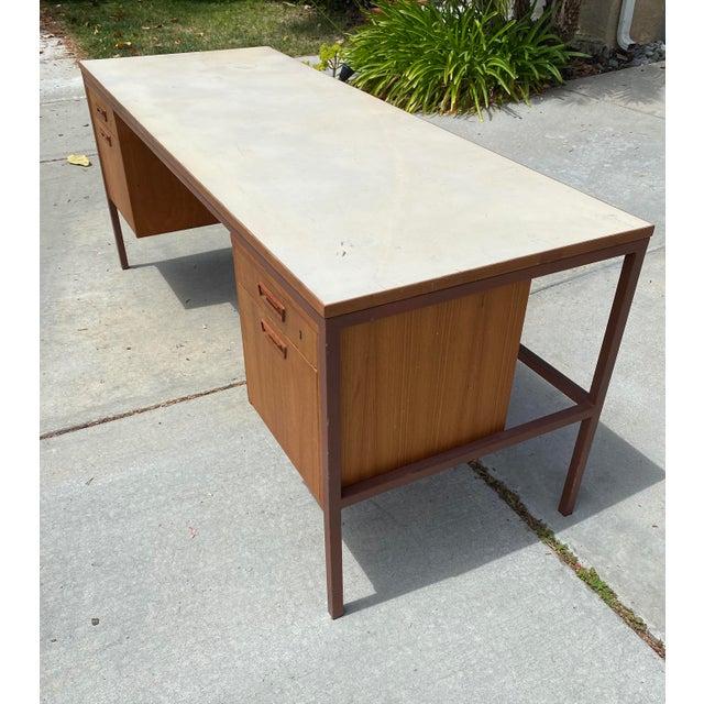 Mid-Century Modern Jens Risom Early Teak, Metal and Vinyl Oversized Desk For Sale - Image 3 of 12