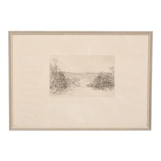 1940's Sparse Scandinavian Landscape Etching For Sale