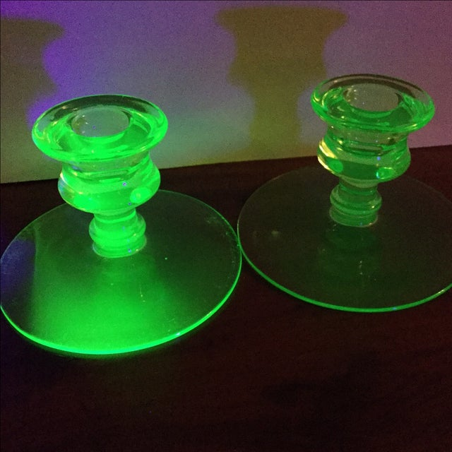 Art Deco Green Uranium Glass Candleholders For Sale - Image 9 of 9