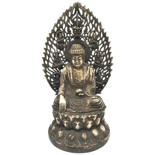 Antique Central Asian Silver Brass Buddha For Sale