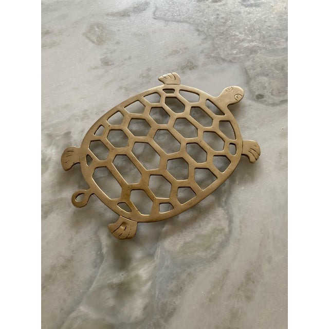 Vintage 1970s Brass Turtle Trivet For Sale - Image 4 of 6