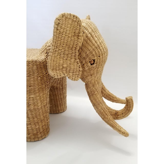 Wicker Mario Lopez Torres Elephant Bench - Signed 1974 -- Palm Beach Boho Chic Mid Century Modern Wicker Seagrass Animal For Sale - Image 7 of 13