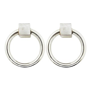 Addison Weeks Porter RIng Pull, Nickel & Moonstone - a Pair For Sale