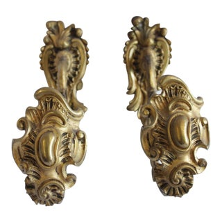 Antique Brass Curtain Tie Backs - a Pair For Sale