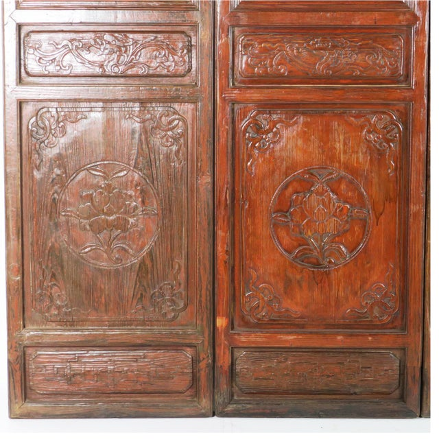 Early 20th Century Antique Chinese Carved Courtyard Doors For Sale - Image 4 of 13