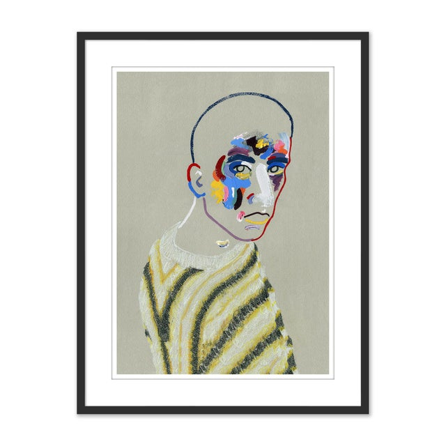 Blue Set of 6 Portraits by Robson Stannard in Black Frame, XS Art Prints For Sale - Image 8 of 11
