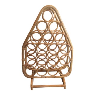 Large Vintage Wicker Wine Rack For Sale