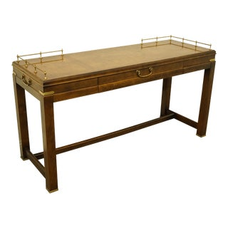 20th Century Asian Lane Furniture Burled Wood Accent Console Table For Sale