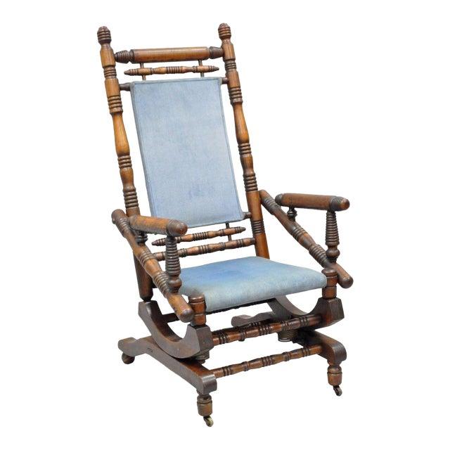 Antique Eastlake Victorian Turned Walnut Blue Platform Rocking Chair - Antique Eastlake Victorian Turned Walnut Blue Platform Rocking Chair
