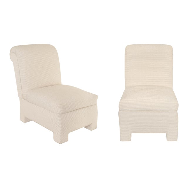 Fully Upholstered Modern Designer Slipper Chairs With Binary Fabric For Sale