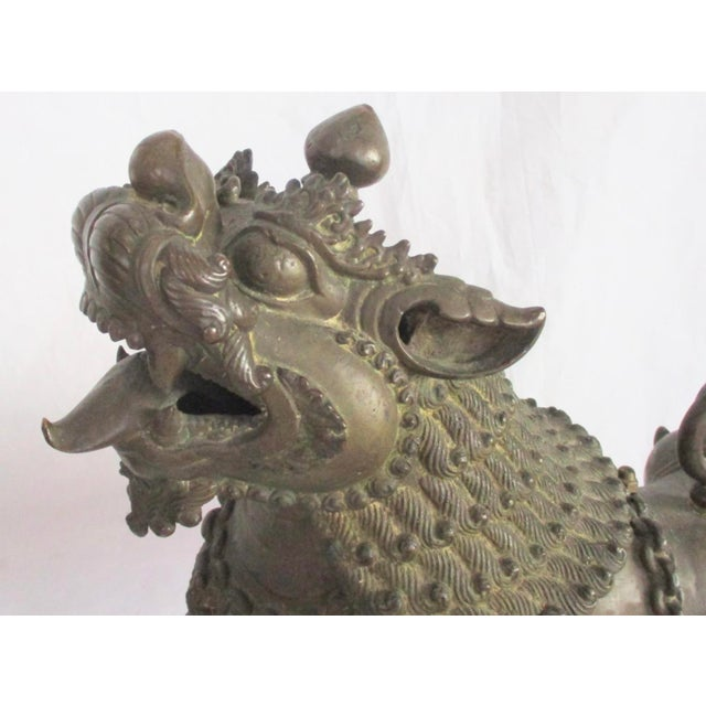 Antique Nepalese Bronze Buddhist Lions - a Pair For Sale - Image 4 of 13