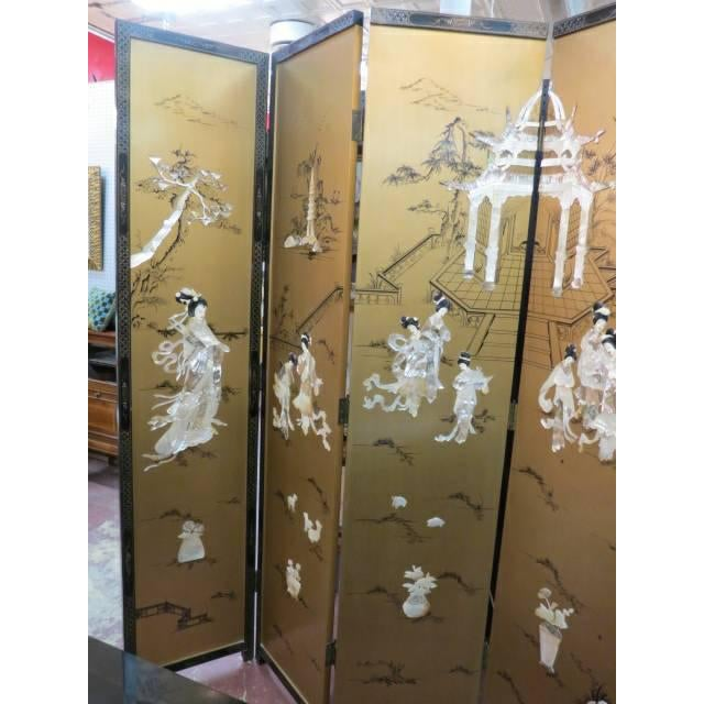 Gold Vintage Chinese Gold Painted Wood and Mother of Pearl 6-Panel Screen, 1950s For Sale - Image 8 of 12
