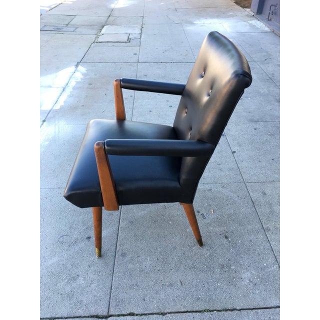 Black Mid-Century Black Vinyl & Walnut Arm Chair For Sale - Image 8 of 9