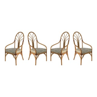 Vintage Tropical Bent Rattan Dining Armchairs/Chairs- Set of 4 For Sale