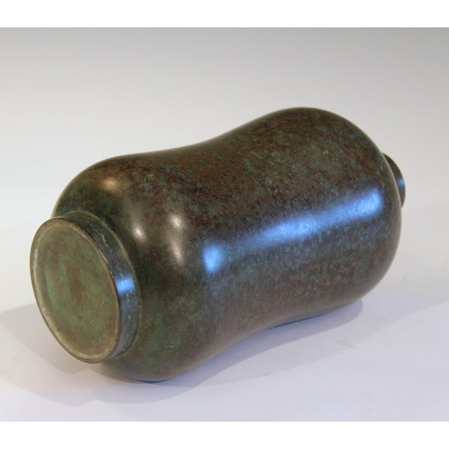 1930s Vintage Bronze Old Japanese Patinated Verdigris Vase For Sale - Image 5 of 11