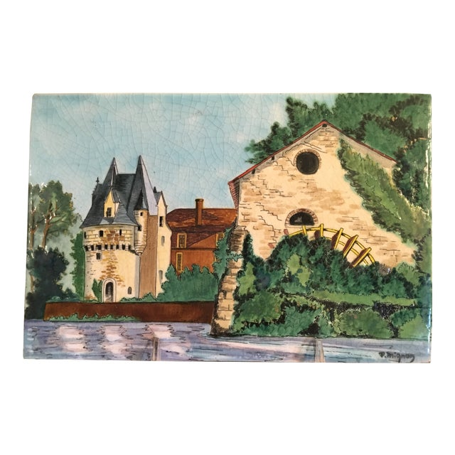 Longwy French Hand Painted & Signed Tile For Sale