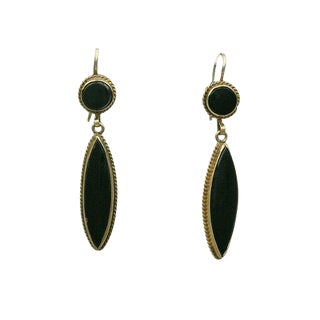 Vintage 14k Gold and Onyx Pierced Drop Earrings For Sale