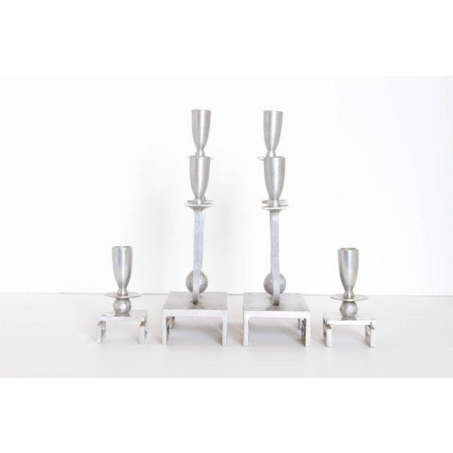 Art Deco Pair of Machine Age Hand-Wrought Aluminum Palmer Smith Candlestick Holders For Sale - Image 3 of 11