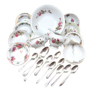 Mismatched Vintage China Dessert Set for Peaches & Cream