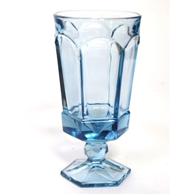 """Beautiful set of heavy pressed stemmed """"iced tea"""" glasses by Fostoria in the """"Virginia"""" pattern in a rare pale blue color...."""