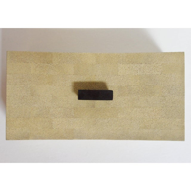 Fabio Ltd Beige Curved Shagreen Box by Fabio Ltd For Sale - Image 4 of 6