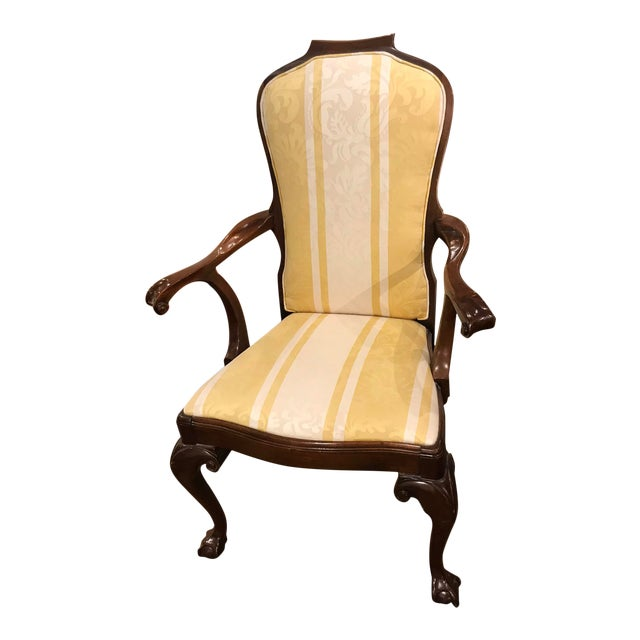 Yellow & White Striped Claw Foot Queen Anne Arm Chair For Sale
