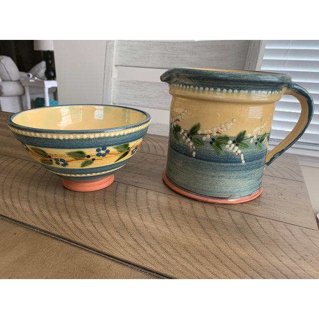 Vintage French Country Hand-Painted & Glazed Terra Cotta Pottery Pitcher Jug & Bowl Set- 2 Pieces For Sale - Image 13 of 13