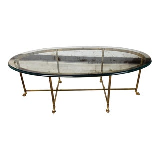 Hollywood Regency LaBarge Oval Brass and Glass Coffee Table For Sale