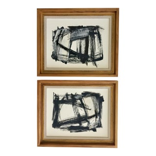 Pair of Black, White, and Gray Abstracts in Gold Frames For Sale