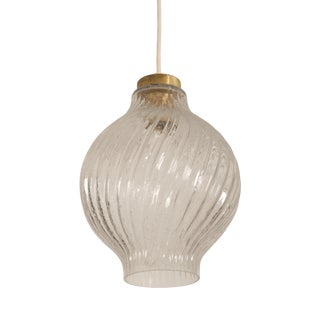Textured Glass and Brass Tulipan Pendant by j.t. Kalmar For Sale
