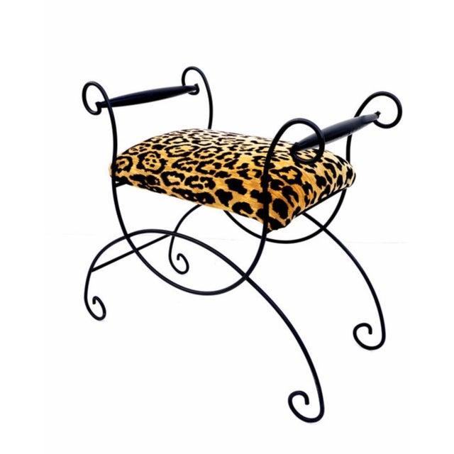 Mid-Century Hollywood Regency Leopard Velvet Empire Style Vanity Bench For Sale - Image 10 of 10