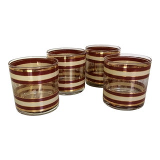 Mid-Century Modern Mad Men Style Tan, Brown and Gold Band Accent Lo-Ball Glasses - Set of 4