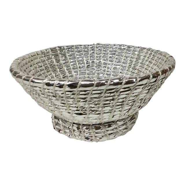 Modern Artisan Hand Woven Repurposed Plastic Basket For Sale