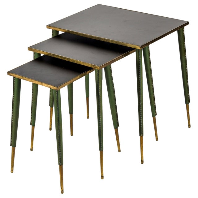 Rare Stitched Leather Nesting Tables by Jacques Adnet - Set of 3 For Sale - Image 9 of 9