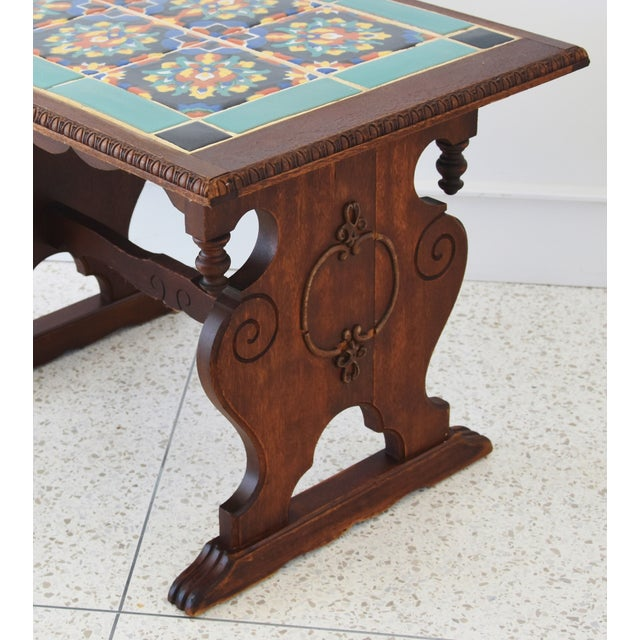 1940s California Mission Tile Oak Accent Coffee Table For Sale In Los Angeles - Image 6 of 13