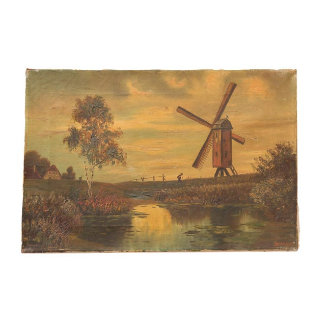 Green Antique Countryside Landscape Windmill Painting For Sale - Image 8 of 8