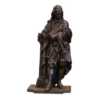 19th Century French Patinated Spelter Statue of Cardinal Mazarin For Sale