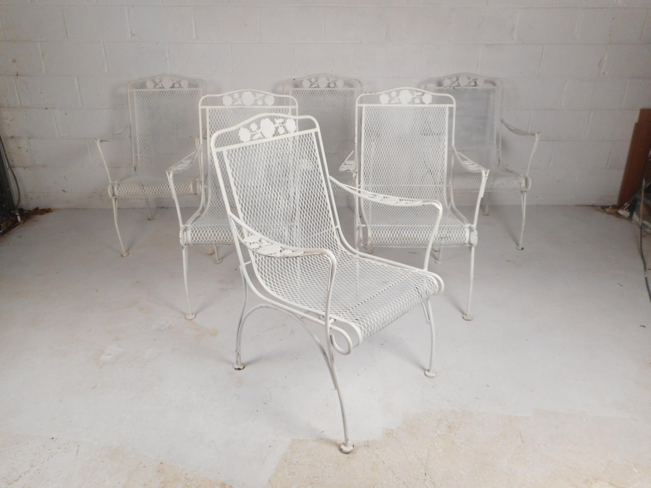 Mid Century Modern Wrought Iron Patio Dining Table Set 7 Pieces
