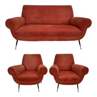 Vintage Mid-Century Italian Loveseat and Armchairs Set by Gigi Radice for Minotti - Set of 3 For Sale