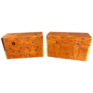 Pair of Willy Rizzo Commodes Nightstands With Brass Accents in a Light Burl Wood For Sale