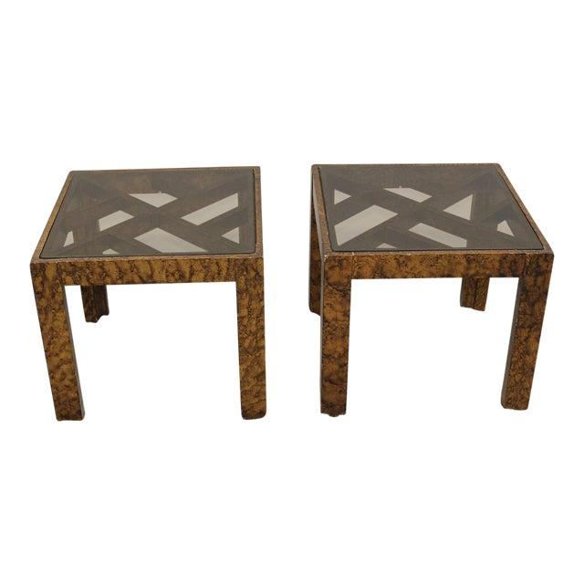 Mid Century Modern pair of end tables with glass tops For Sale