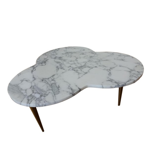 Gold Mid-Century Modern Marble Clover Coffee Table For Sale - Image 8 of 9