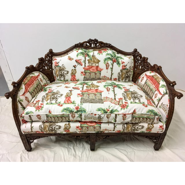 1930s Chinoiserie Carved Pagoda Settee - Image 8 of 9